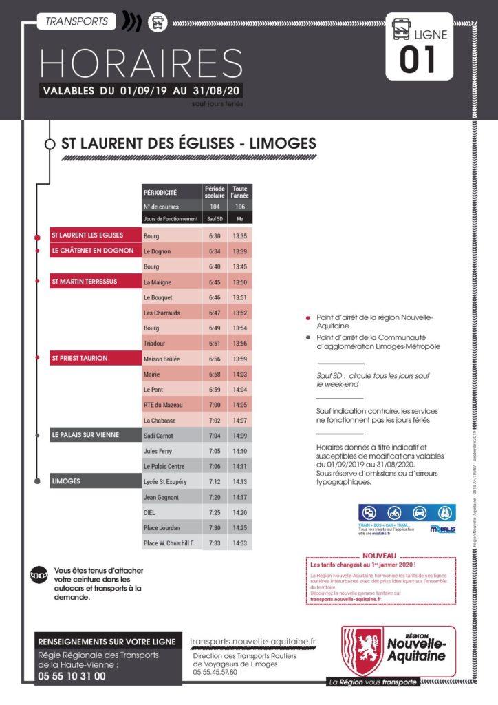 Horaires de bus sens St-Martin-Terressus - Limoges