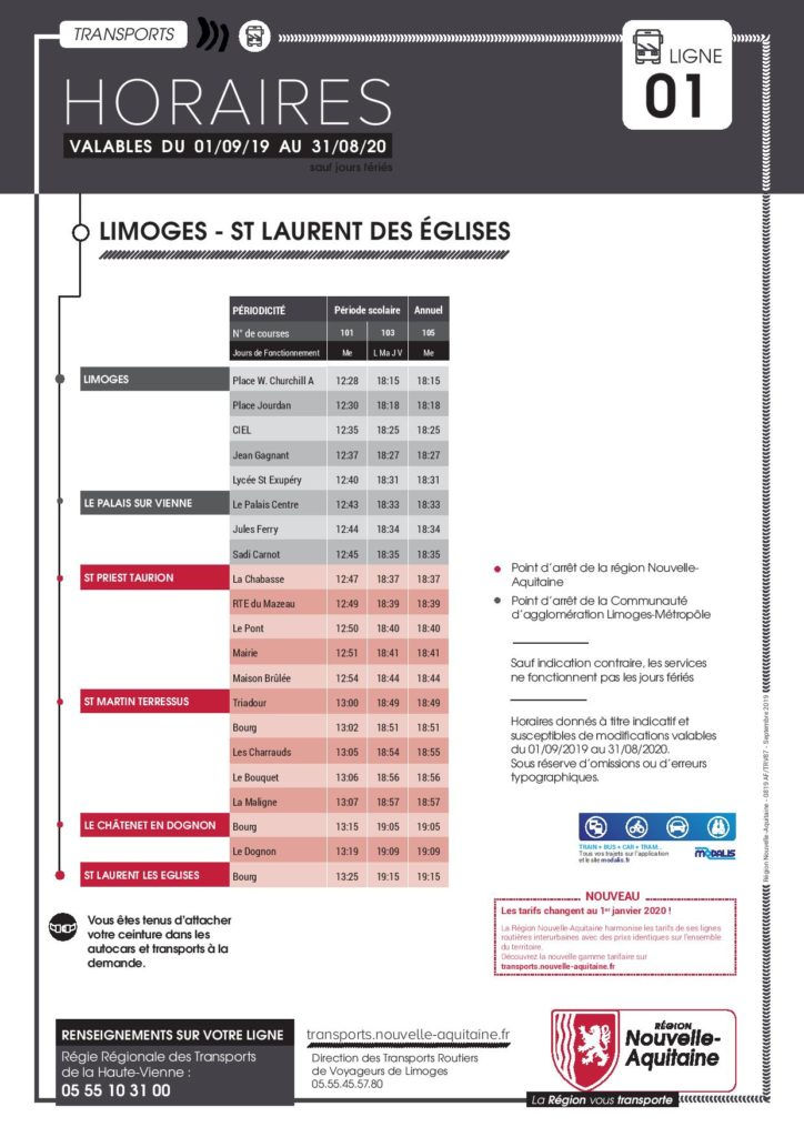 Horaires de bus sens Limoges - St-Martin-Terressus